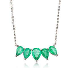2 ct. t.w. Pear-Shaped Emerald Necklace in 18kt White Gold, , default
