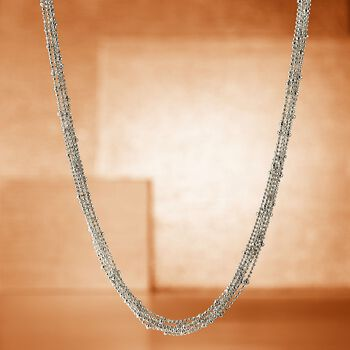 "Italian Sterling Silver Seven Strand Bead Chain Necklace. 18"", , default"