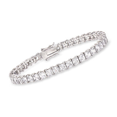 15.00 ct. t.w. Princess-Cut CZ Tennis Bracelet in Sterling Silver