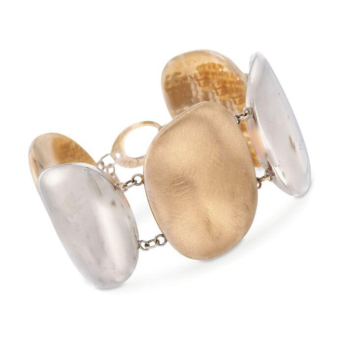 """C. 1970 Vintage 18kt Two-Tone Gold Wide Oval Bracelet. 8"""""""