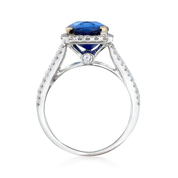 C. 2000 Vintage 3.57 Carat Sapphire and .67 ct. t.w. Diamond Ring in 18kt White Gold. Size 6.5