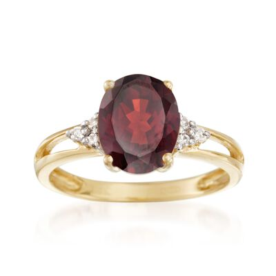 2.90 Carat Garnet and .10 ct. t.w. Diamond Ring in 14kt Yellow Gold, , default