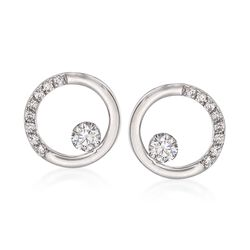 .28 ct. t.w. Diamond Open Circle Earrings in 14kt White Gold , , default