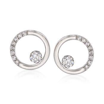 .28 ct. t.w. Diamond Open Circle Earrings in 14kt White Gold , , default