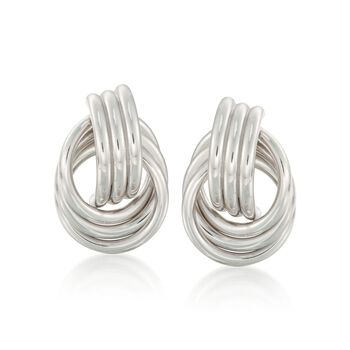 Sterling Silver Love Knot Earrings, , default