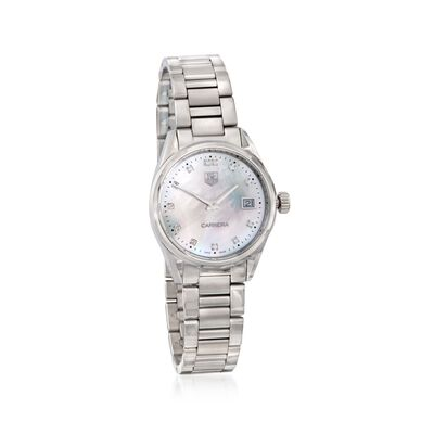 TAG Heuer Carrera Women's 32mm Stainless Steel Watch with Diamonds - Mother-Of-Pearl Dial, , default