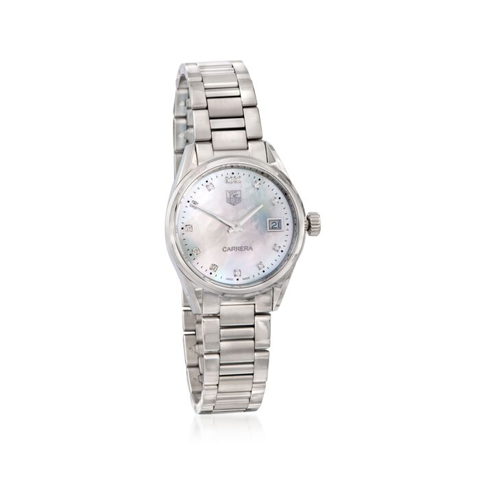 TAG Heuer Carrera Women's 32mm Stainless Steel Watch with Diamonds - Mother-Of-Pearl Dial , , default