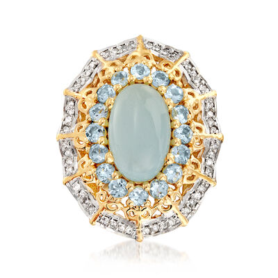 4.90 ct. t.w. Aquamarine and .27 ct. t.w. Diamond Ring in 18kt Gold Over Sterling