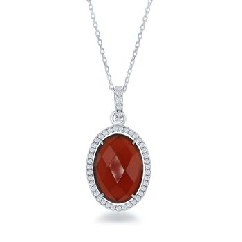 "Carnelian and .50 ct. t.w. CZ Pendant Necklace in Sterling Silver. 18"", , default"