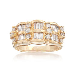 C. 1990 Vintage 1.00 ct. t.w. Diamond Double-Row Ring in 14kt Yellow Gold, , default