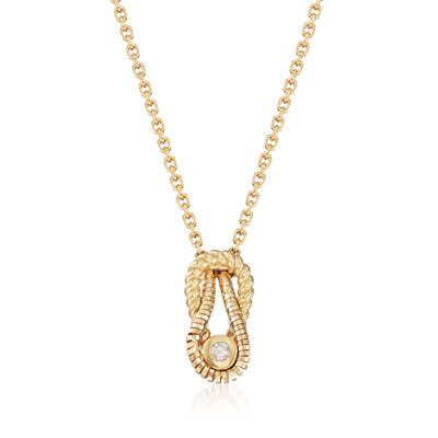 "Phillip Gavriel ""Italian Cable"" 14kt Yellow Gold Pendant Necklace with Diamond Accent, , default"