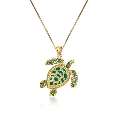 14kt Yellow Gold Sea Turtle Pendant Necklace with Green Enamel, , default