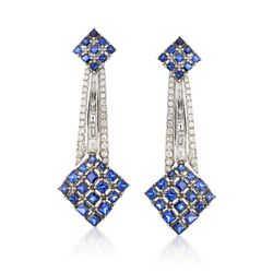 C. 1990 Vintage 7.00 ct. t.w. Sapphire and 2.70 ct. t.w. Diamond Drop Earrings in 18kt White Gold, , default