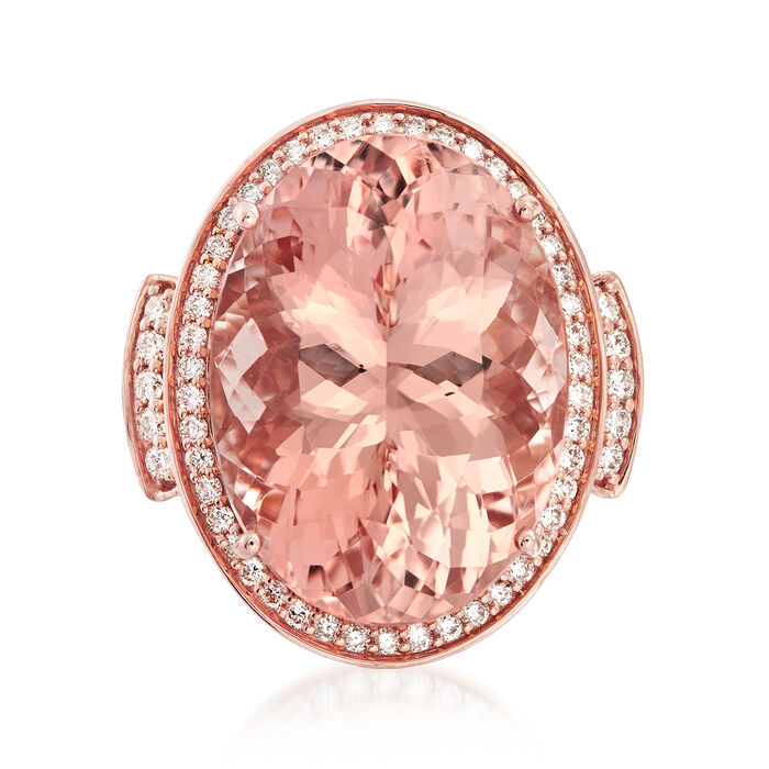 20.00 Carat Morganite and .94 ct. t.w. Diamond Ring in 18kt Rose Gold. Size 7