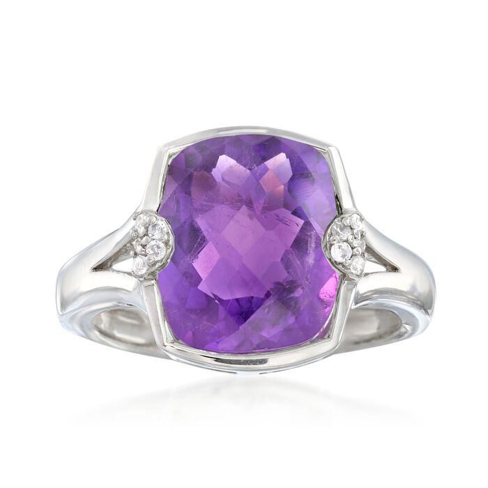 4.30 Carat Amethyst Ring with White Zircon Accents in Sterling Silver