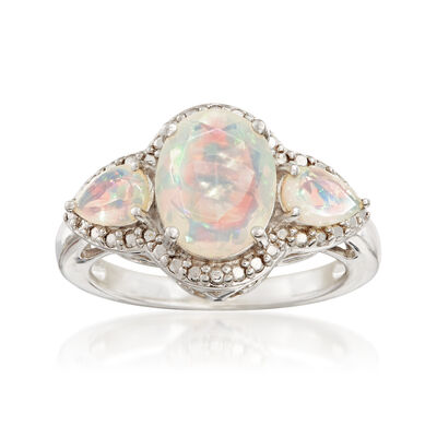Three-Stone Ethiopian Opal Ring in Sterling Silver, , default