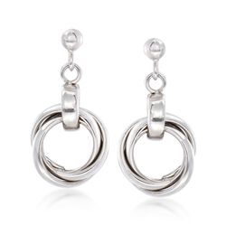 Italian Sterling Silver Multi-Circle Drop Earrings, , default