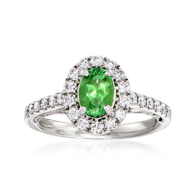C. 1990 Vintage 1.02 Carat Tsavorite and .53 ct. t.w. Diamond Ring in 14kt White Gold