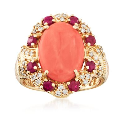 Coral and .70 ct. t.w. Ruby Ring with .23 ct. t.w. Diamonds in 14kt Yellow Gold, , default
