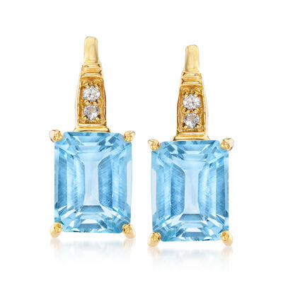 6.10 ct. t.w. Sky Blue Topaz and .10 ct. t.w. White Topaz Earrings in 18kt Gold Over Sterling, , default