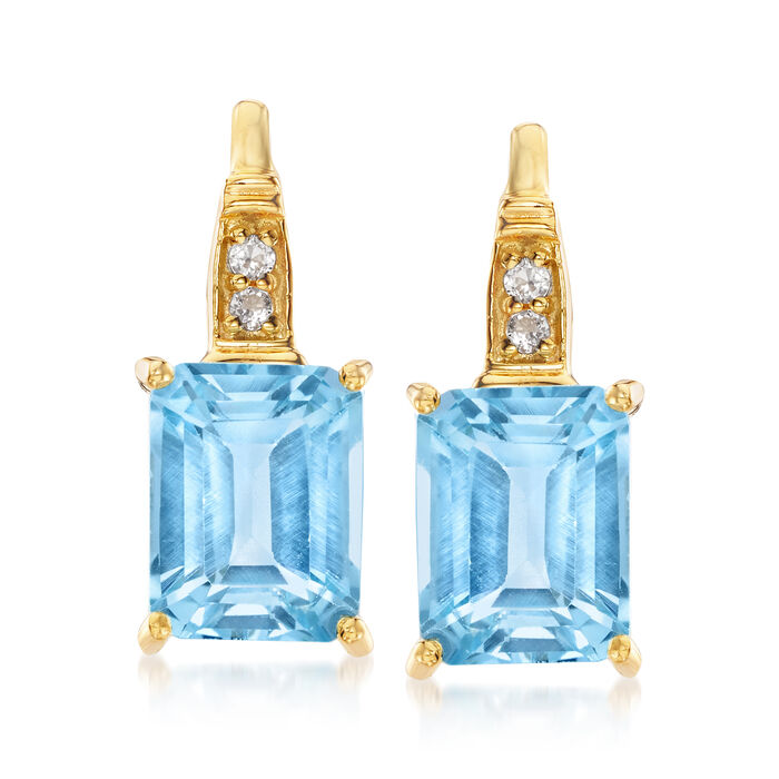 6.10 ct. t.w. Sky Blue Topaz and .10 ct. t.w. White Topaz Earrings in 18kt Gold Over Sterling