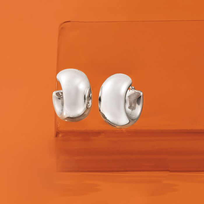 Sterling Silver Wide Hoop Earrings