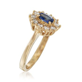 C. 1980 Vintage .45 Carat Sapphire and .50 ct. t.w. Diamond Ring in 18kt Yellow Gold. Size 6, , default