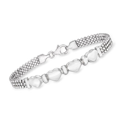 Italian Sterling Silver Multi-Heart Beaded Bracelet