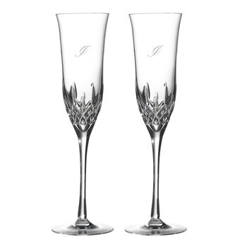 "Waterford Crystal ""Lismore Essence"" Set of 2 Script Initial Toasting Flutes"