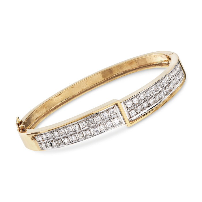 "C. 1980 Vintage 1.50 ct. t.w. Diamond Bangle Bracelet in 14kt Yellow Gold. 7"", , default"