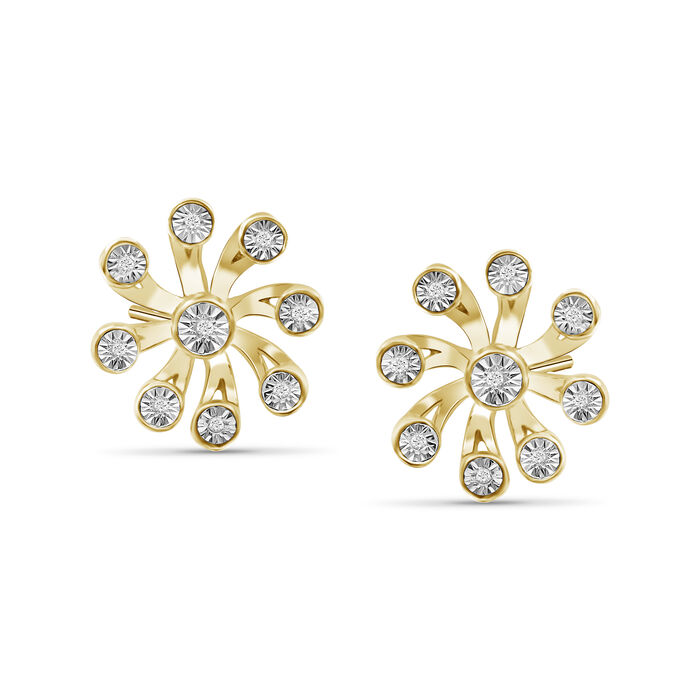 Diamond Illusion Flower Earrings in 18kt Yellow Gold Over Sterling Silver. Pst