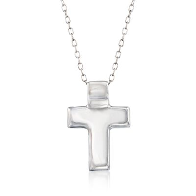 Sterling Silver Cross Pendant Necklace, , default