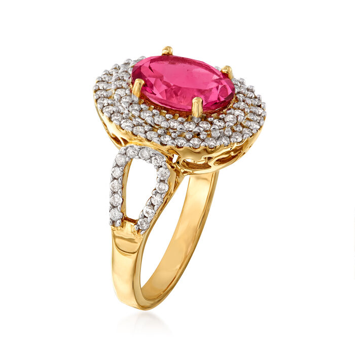 3.30 Carat Pink Topaz and .60 ct. t.w. Diamond Ring in 14kt Yellow Gold