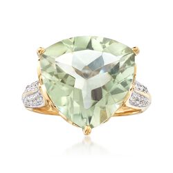 7.50 Carat Green Prasiolite and .20 ct. t.w. White Topaz Ring in 18kt Gold Over Sterling, , default