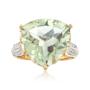 7.50 Carat Green Amethyst and .20 ct. t.w. White Topaz Ring in 18kt Gold Over Sterling, , default