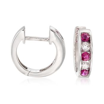 ".30 ct. t.w. Ruby and .18 ct. t.w. Diamond Hoop Earrings in 14kt White Gold. 3/8"", , default"