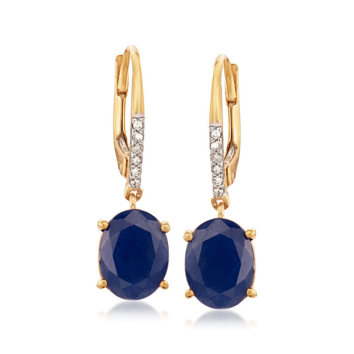 3.90 ct. t.w. Sapphire Drop Earrings with Diamond Accents in 18kt Gold Over Sterling