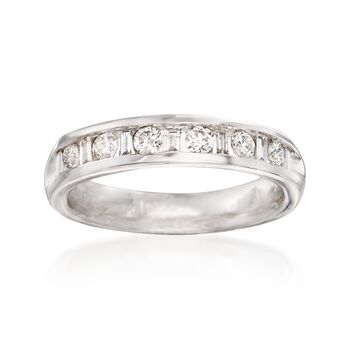 .48 ct. t.w. Baguette and Round Diamond Ring in 14kt White Gold, , default