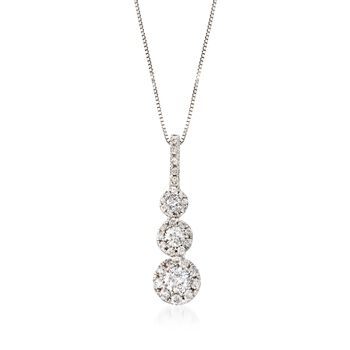 ".75 ct. t.w. Diamond Three-Tier Halo Pendant Necklace in 14kt White Gold. 18"", , default"