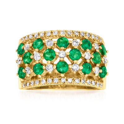 2.10 ct. t.w. Emerald and .63 ct. t.w. Diamond Checkerboard Ring in 14kt Yellow Gold