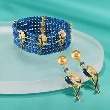 Italian Blue Quartzite and 2.00 ct. t.w. CZ Parrot Bracelet in 18kt Gold Over Sterling, , default