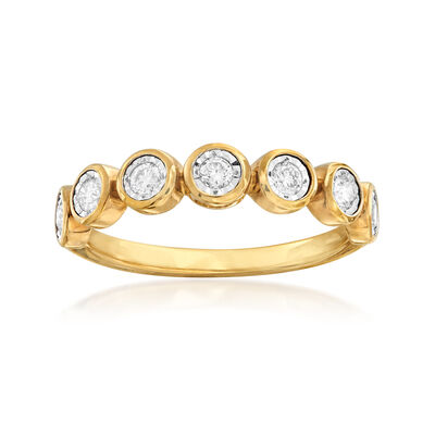 .33 ct. t.w. Bezel-Set Diamond Ring in 18kt Gold Over Sterling