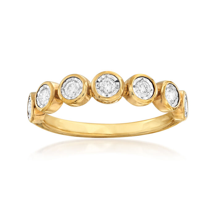 .33 ct. t.w. Bezel-Set Diamond Ring in 18kt Gold Over Sterling . Size 5