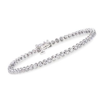 2.00 ct. t.w. Bezel-Set Diamond Tennis Bracelet in 14kt White Gold, , default