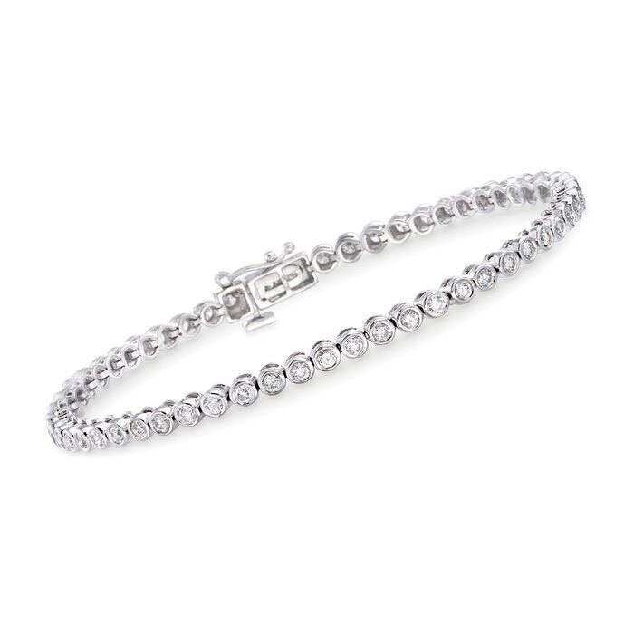 "2.00 ct. t.w. Bezel-Set Diamond Tennis Bracelet in 14kt White Gold. 7"""