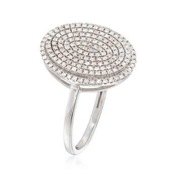 .35 ct. t.w. Pave Diamond Oval Ring in 14kt White Gold, , default