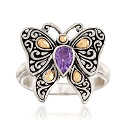 .40 Carat Amethyst Bali-Style Butterfly Ring in Sterling Silver and 18kt Yellow Gold, , default