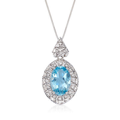 4.10 Carat Aquamarine and .31 ct. t.w. Diamond Oval Pendant Necklace in 14kt White Gold, , default