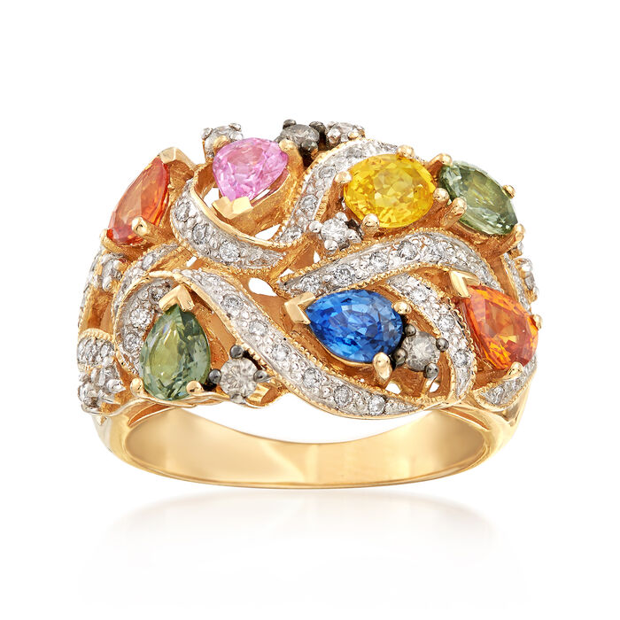 C. 2000 Vintage 2.45 ct. t.w. Multicolored Sapphire and .35 ct. t.w. Diamond Ring in 14kt Yellow Gold. Size 8, , default