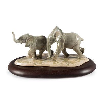 Lladro Porcelain Elephant Figurine: Following the Path, , default